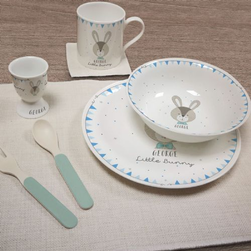 Personalised Little Bunny Blue Breakfast Set